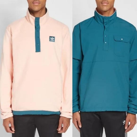 Adidas Green Reversible Popover Fleece Jacket